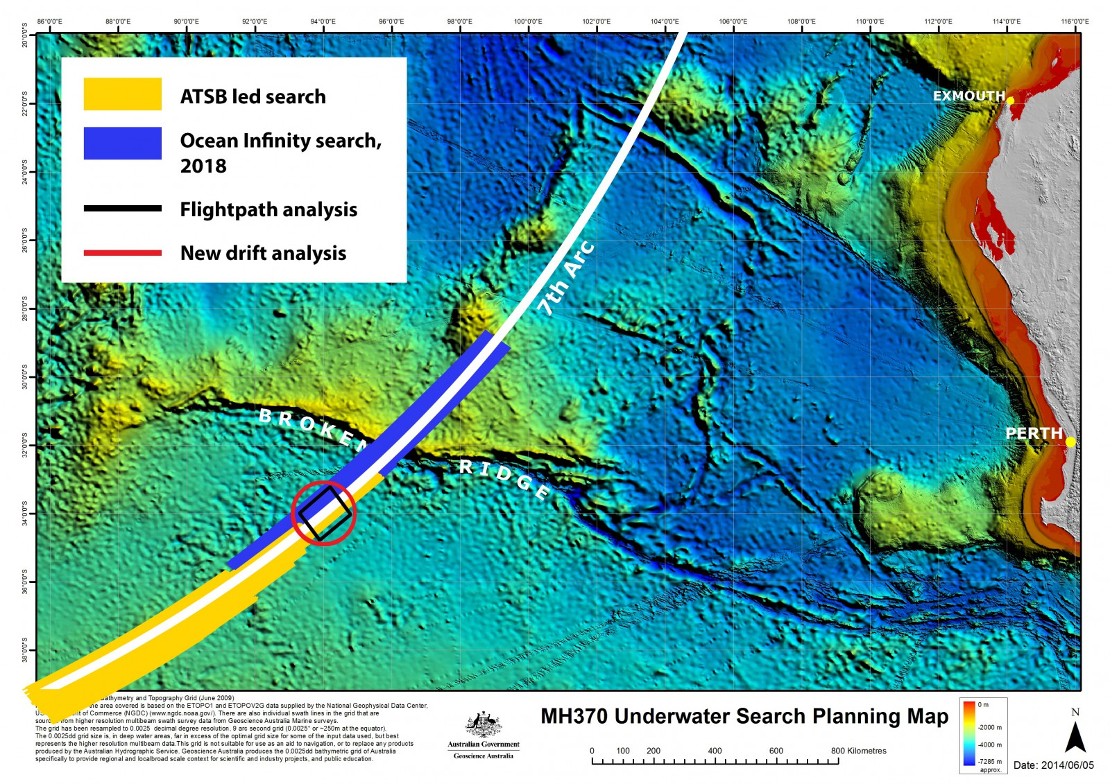Peta Pencarian MH370 di Bawah Laut