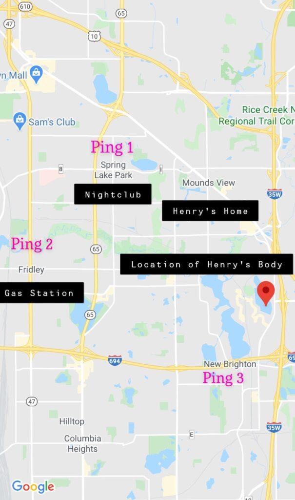 Lokasi Yang Dilalui oleh Henry McCabe malam itu