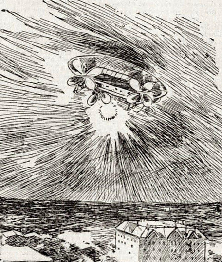 Sketsa UFO yang seperti Balon Udara Modern